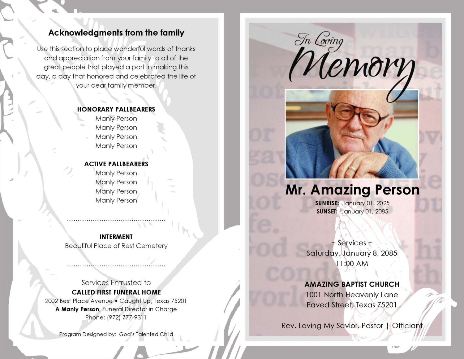 funeral program printable hands praying template