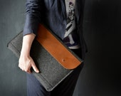 "10% off MacBook 15"" PRO RETINA case full grain leather wool felt dark grey laptop messenger perfect protection snug fit large front pocket"