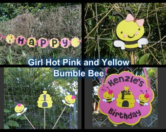 Girl Bumble Bee - Complete Party Package - Hot Pink and Yellow