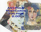 Postcards any Four (4)  You Select, MIX AND MATCH.