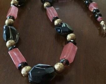 Smoky topaz quartz and cherry quartz necklace