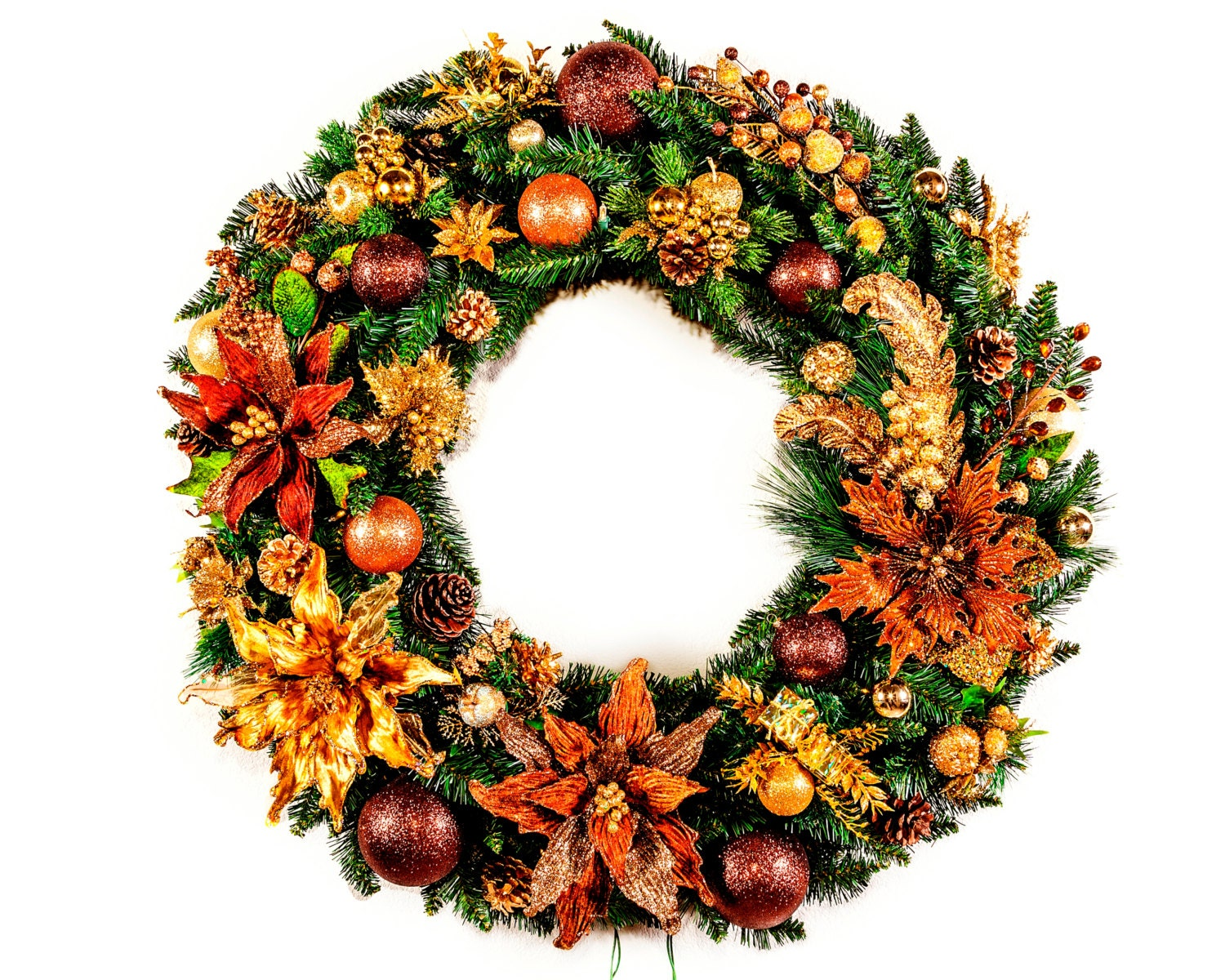Giant Golden Brown Christmas Wreath with Lights - Silk Floral Arrangement