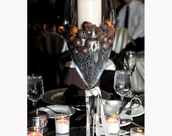 Tall Champagne Glass Vase Centerpiece For Elegant Wedding Table Decoration
