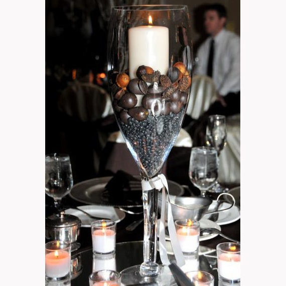 Tall champagne glass vase centerpiece for elegant by partyspin