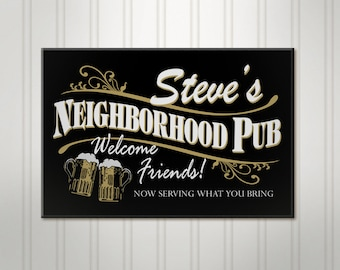 Personalized Beer Sign, Neighborhood Pub, ManCave Bar Sign, Pub Sign