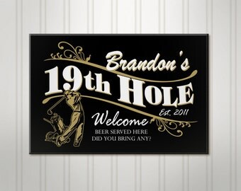 Personalized Golf Sign, 19th Hole ManCave Pub Sign, Personalized Sign, Personalized Beer Sign, Man Cave Bar Decor
