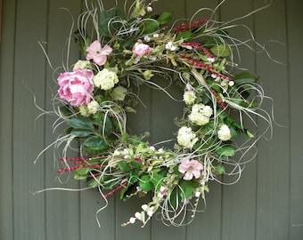 Spring Silk Flower Wreath in Pastel Colors