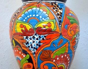 Elegant blue talavera vase
