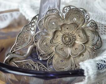 Mariage Bouquet bibi voilette élément quelque CHOSE de VIEUX Cannetille fleur depuis le début du XXe siècle - filigrane