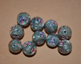 Destach - 10mm Lampwork Rose Beads