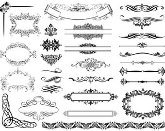 Instant Download Digital Flourish Swirl Border Frame Ornate Clip Art Swirl Scrapbooking Embellishment Frame Clipart Frame Decor Element 0245
