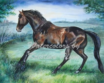 Blank note cards horse galloping card from the watercolor painting Spring Has Sprung by Krisitne Plum in greeting notecard set