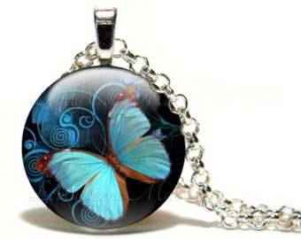 Blue Butterfly Necklace, Round Glass Necklace, Glass Tile Pendant, Glass Cabochon, Blue Necklace, Blue Butterfly Pendant, Ready to Ship