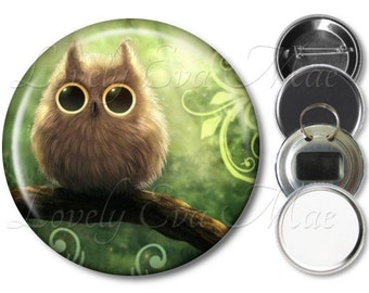 Fuzzy Owl Pocket Mirror, Magnet, Bottle Opener Key Ring, Pin Back Button, Owl Gift, Green, Baby Owl, Purse Mirror, Keychain, Compact Purse