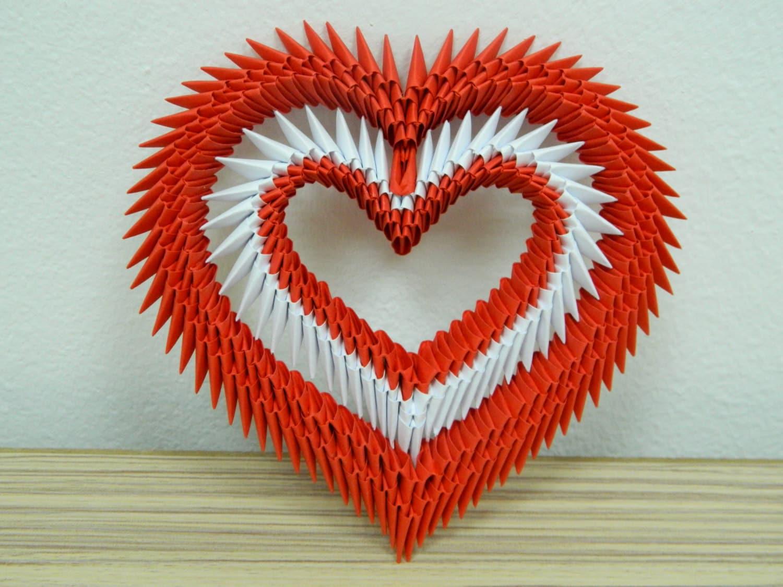 Satz von 2 3D Origami-Herz von SilvyOrigami auf Etsy - photo#9