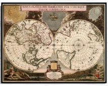 Vintage  World Map Hemisphere Antique, 1700- Vintage World Map highlighting the Genesis story of creation