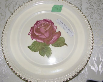 Harker Pottery Co. Dinner Plates Royal Gadroon Pink Rose