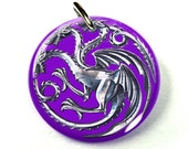 Khaleesi Pet ID tags Dog Tags Dog Collar Pet ID Tags Purple Game of Thrones Targaryen