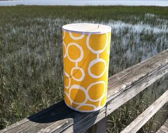 Small Drum Lamp Shade Yellow, White Circles Retro Design