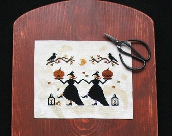 Primitive Cross Stitch Halloween Pattern PDF Hallows Eve Dance