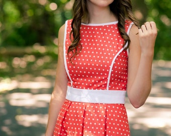 Coral Sundress with White Polka Dots