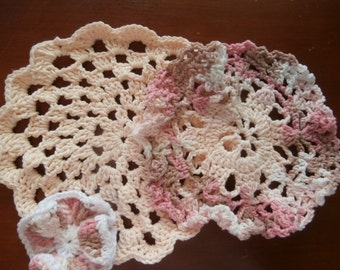 Dish/Wash Cloths - Set of 3 - Pinky - 100 Cotton - Hand Crocheted - Pink - White - Scrubber - Rounds - Wedding - Kitchen - Bathroom