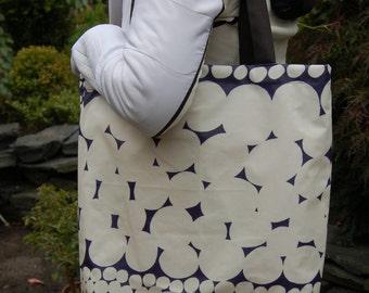 Big waterproof tote from Marimekko Jurmo OIL CLOTH, Finland, blue white black