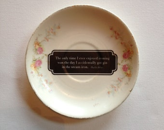 OOPS! gin in the iron - altered vintage plate