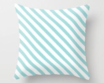 Velveteen Pillow Cover - Decorative Pillows - Aqua - Throw Pillow Cover - Stripes - Girls Pillow - Teen Pillows - Blue Pillow Cover - Gifts