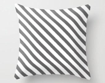 Gray Striped Pillow, Ikat Pillow Cover, Gray Cushion, Velvet Pillow, Guest Bedroom Decor, 18x18, 22x22, Striped Cushion Cover, Housewarming