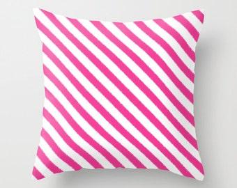 Fuchsia Pillow - Velveteen Pillow - Fuchsia Striped Pillow - Dorm Pillow - Girls Room Decor - Dorm Decor - Teen Pillow - Fuchsia Cushion
