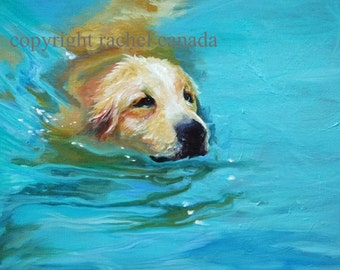 "Golden Retriever Dog Art Oil Painting Print - ""Dockside"""