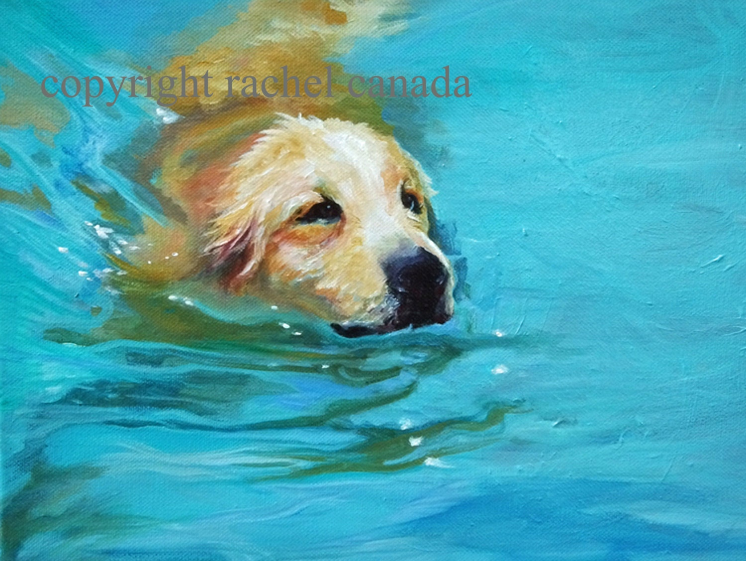 Golden Retriever Dog Art Oil Painting Print