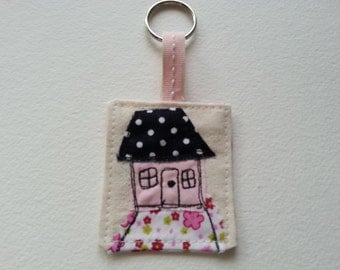English Country Cottage Pink Key Ring