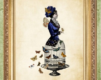 Steampunk Woman with Butterfly Bird Cage Steampunk Print