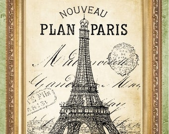 Eiffel Tower Print French Art Print Paris Art Wall Decor Eiffel Tower Vintage Style Paris Print