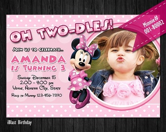PINK Mouse Digital Invitation for Minnie Birthday - Digital Invite for Minnie party