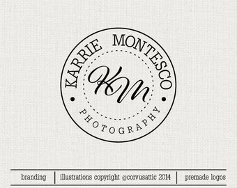 Monogram Premade logo  For Photography and Small Business Use - Round logo initials monogram signature  - Eps and PNG files