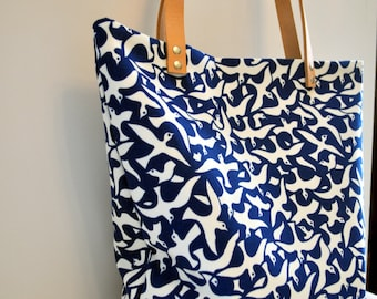 Blue Bird Leather Tote Bag, Natural Leather Handles, Large Carry All Tote