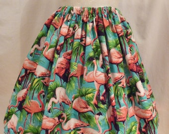 Cute Rockabilly Retro 50s Style Flamingo Full Flared Skirt Size  UK 14/16   US10/12