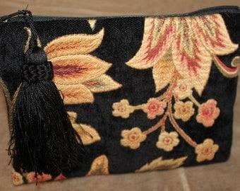 Makeup Bag - Chenille - Estate - Black Tassel - Coral/Yellow Striped Silk Lining