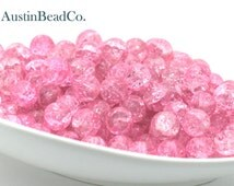 30pcs Round Crackle Glass Beads - Pink, Light Pink, Baby Pink, Shattered Glass, Cracked Glass, Glossy, Size 10mm (G016)