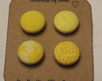 Fabric Covered Button Magnets-Set of 4, refrigerator magnets, magnet board, magnetic, Yellow prints
