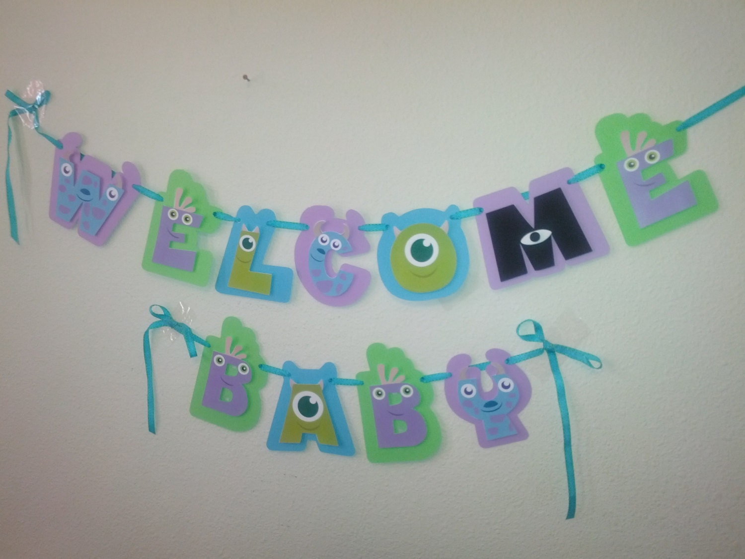 Monster Inc Baby Shower Decorations Welcome Baby Shower Banner Monsters Inc