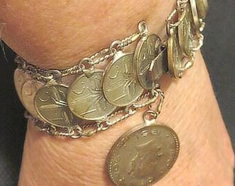 Mexican Souvenir Bracelet made of Coins of 1953, Vintage