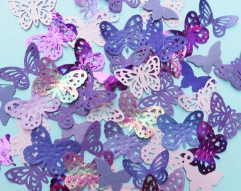 100 decorative butterflies. Purple and lilac shades. 3 pack choices. Weddings, cardmaking, decoration