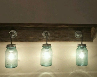 Rustic Barn Wood Mason Jar Light Fixture with SHELF