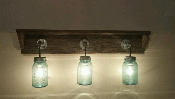 Rustic barn wood mason jar light fixture with shelf for Rustic barn light fixtures
