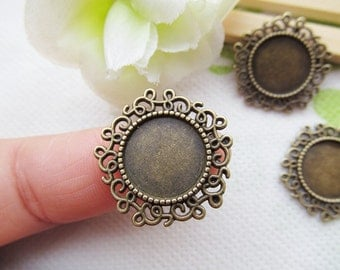 Antique Silver tone/bronze Flower Border Round Base Setting Tray Bezel Pendant Charm/Finding,fit 14mm Cabochon/Picture/Cameo,DIY Accessory