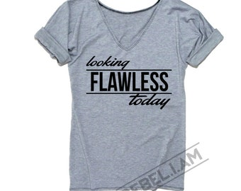 LOOK FLAWLESS t shirt t-shirt tee with v neck and sleeve tabs, unique, long